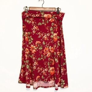 LuLaRoe Azure Red Soft Floral Foldover Waist Skirt